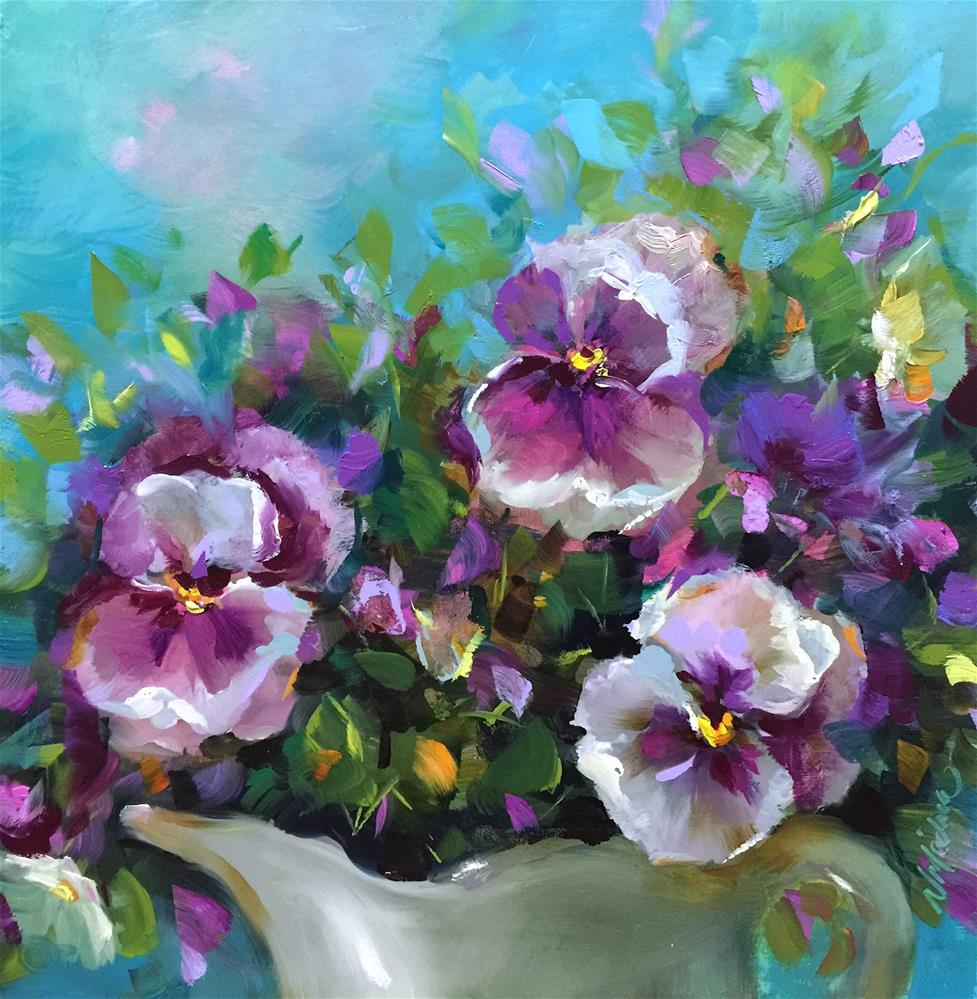 """Irish Pansies"" original fine art by Nancy Medina"