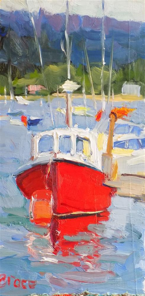 """Red Fishing Boat Plymouth Harbor"" original fine art by Rita Brace"