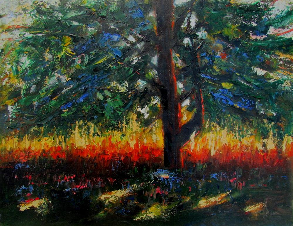 """14 x 11 inch oil Tree on Fire"" original fine art by Linda Yurgensen"