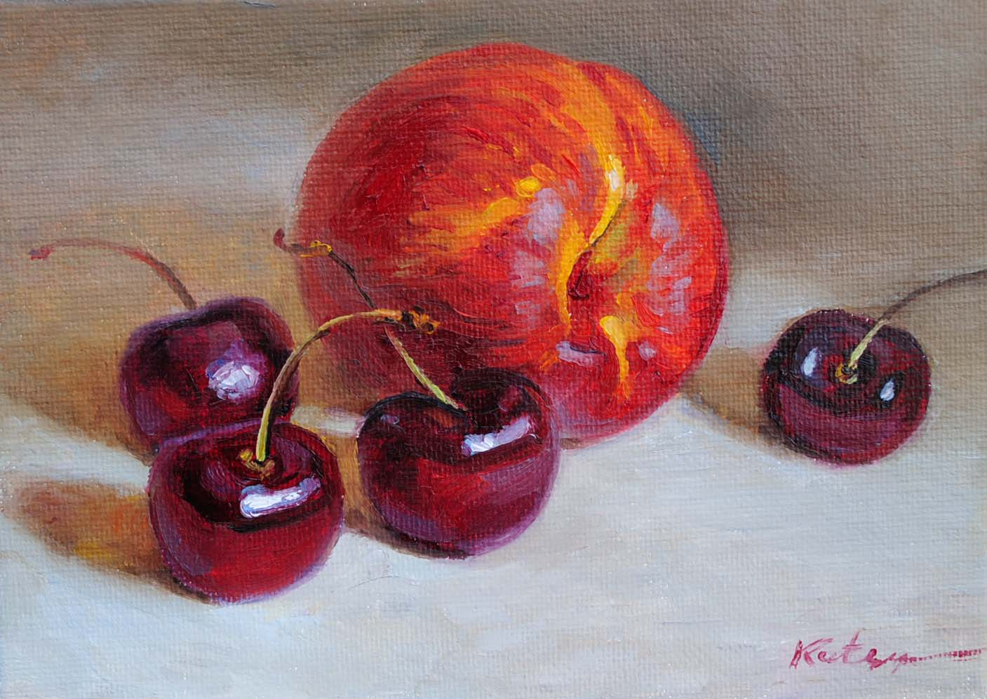 """Cherries & Nectarine"" original fine art by Elena Katsyura"