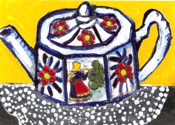 """ACEO Folk Art Teapot Blue and White with Red Flowers Painting Penny StewArt"" original fine art by Penny Lee StewArt"