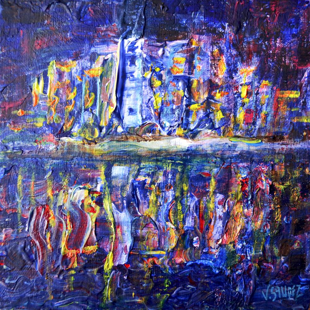 """Your city by night"" original fine art by Véronique Saudez"