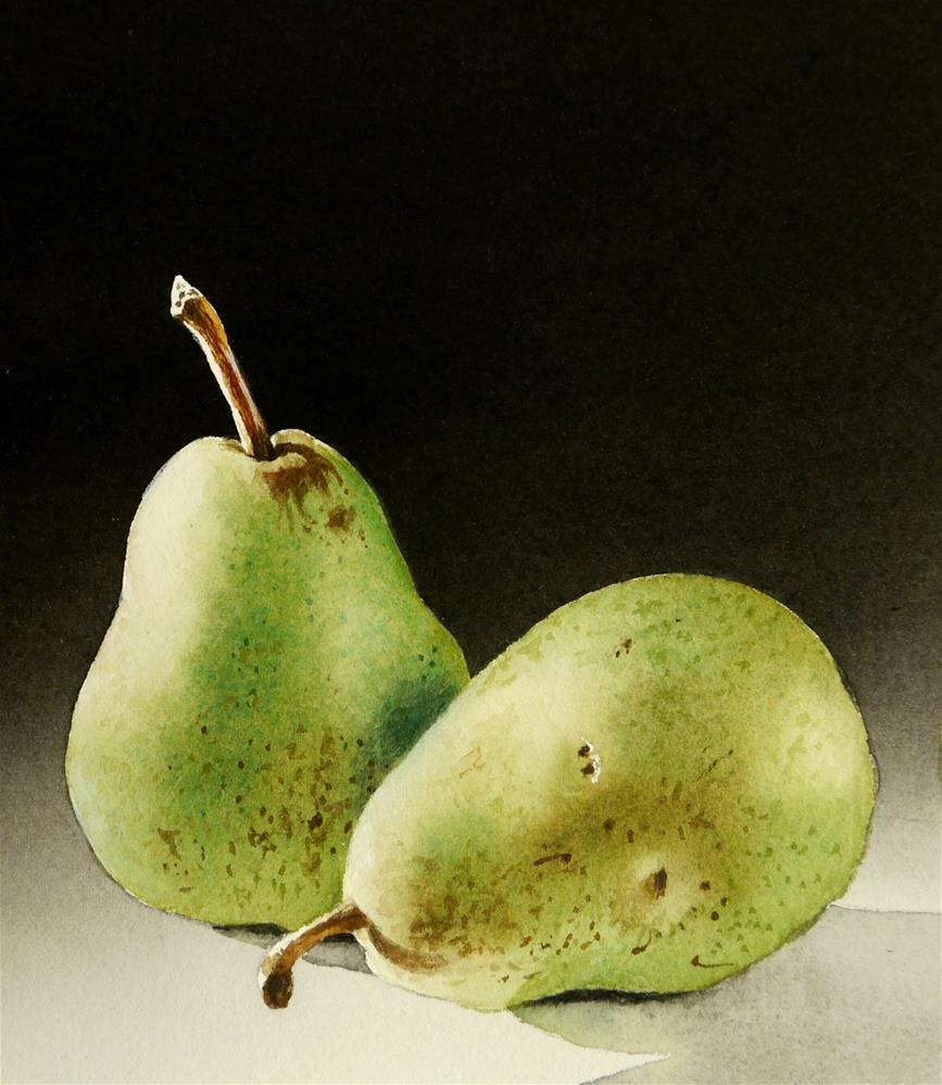 """Two Pears"" original fine art by Jacqueline Gnott, whs"