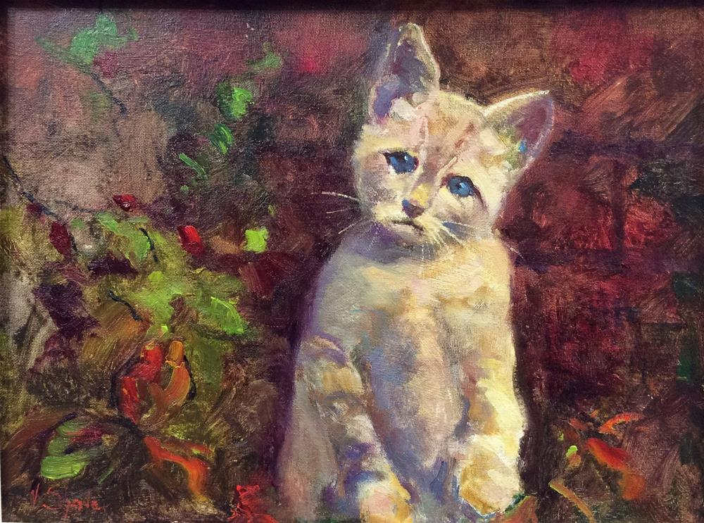 """Here Kitty"" original fine art by John Shave"