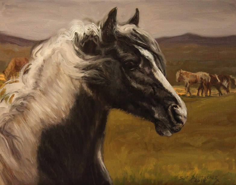 """Pinto Mustang"" original fine art by Sue Deutscher"