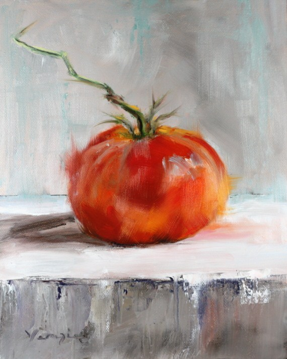 """oil painting still life with tomato"" original fine art by Carrie Venezia"