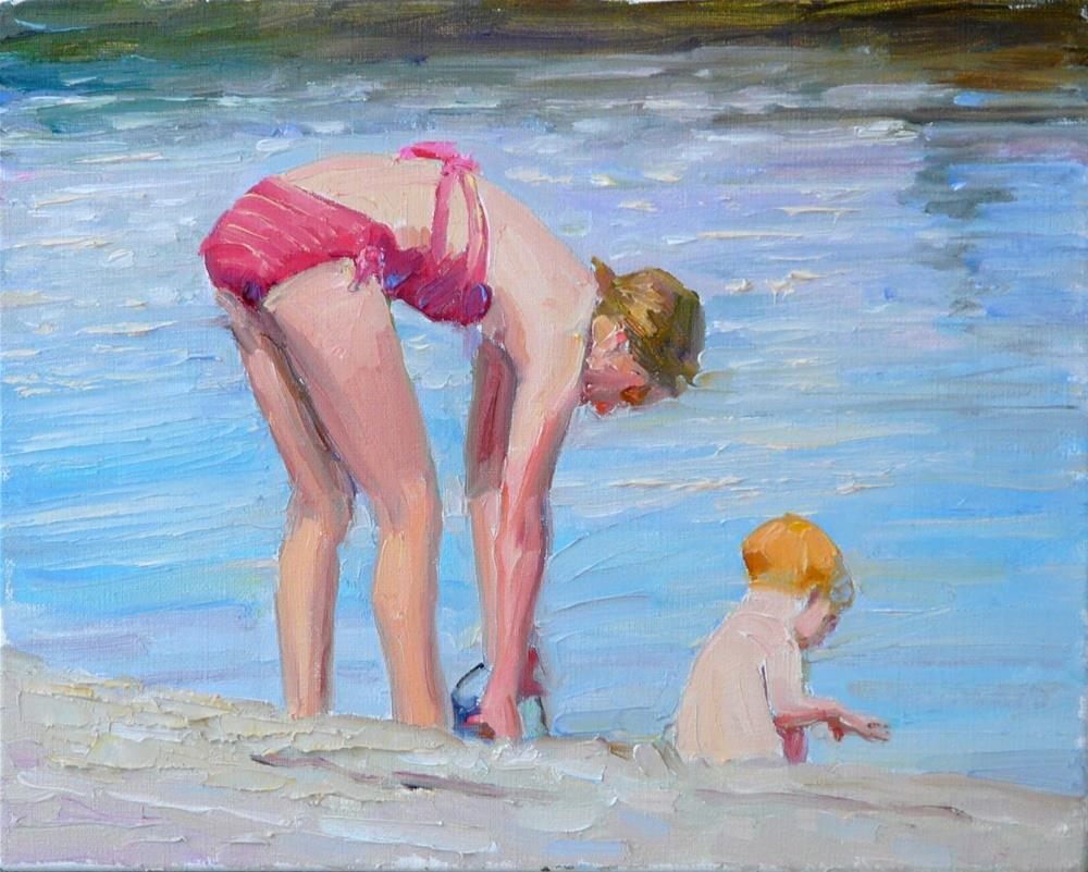 """Seaside,figures,oil on linen.8x10.price$500"" original fine art by Joy Olney"