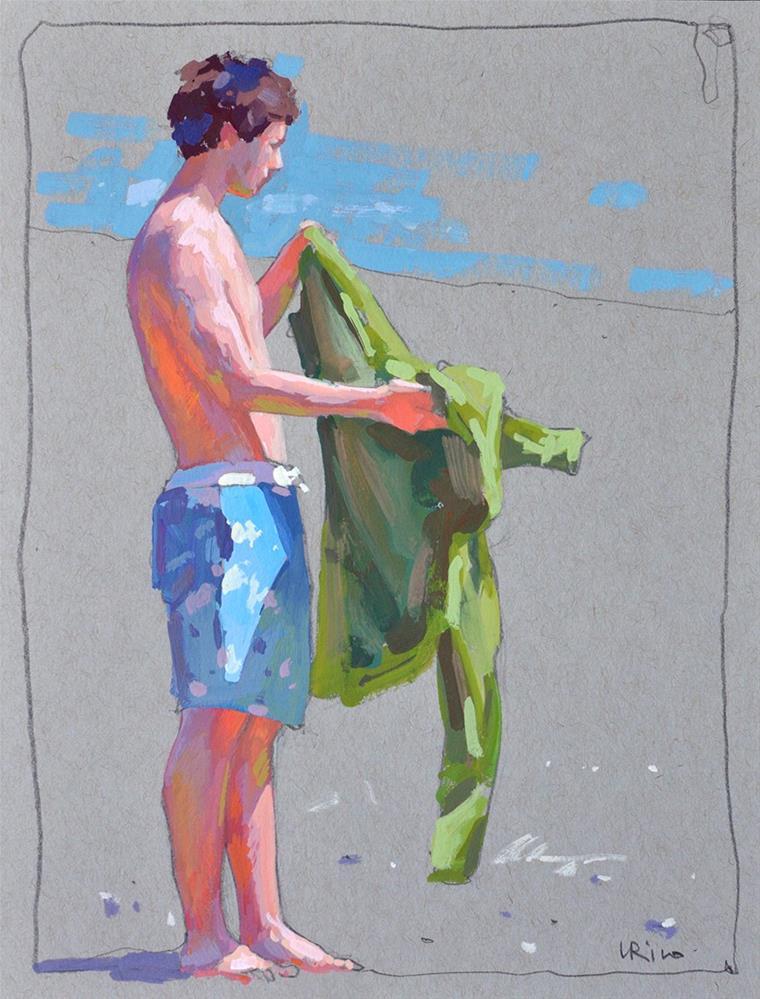 """""""Boy getting ready for a swim"""" original fine art by Lena  Rivo"""