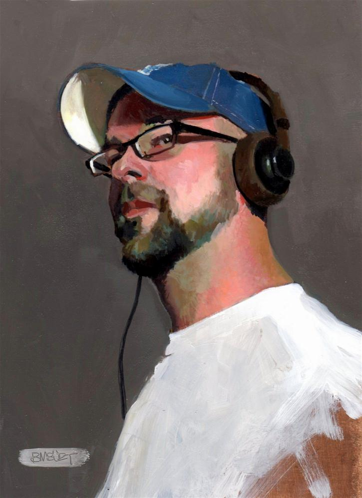 """#301 Self Portrait with Headphones"" original fine art by Brian Burt"