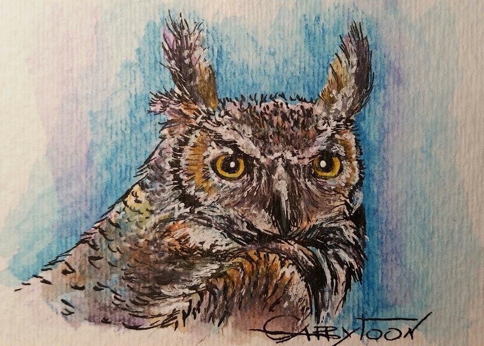"""Owl(ACEO)"" original fine art by Gabriella DeLamater"