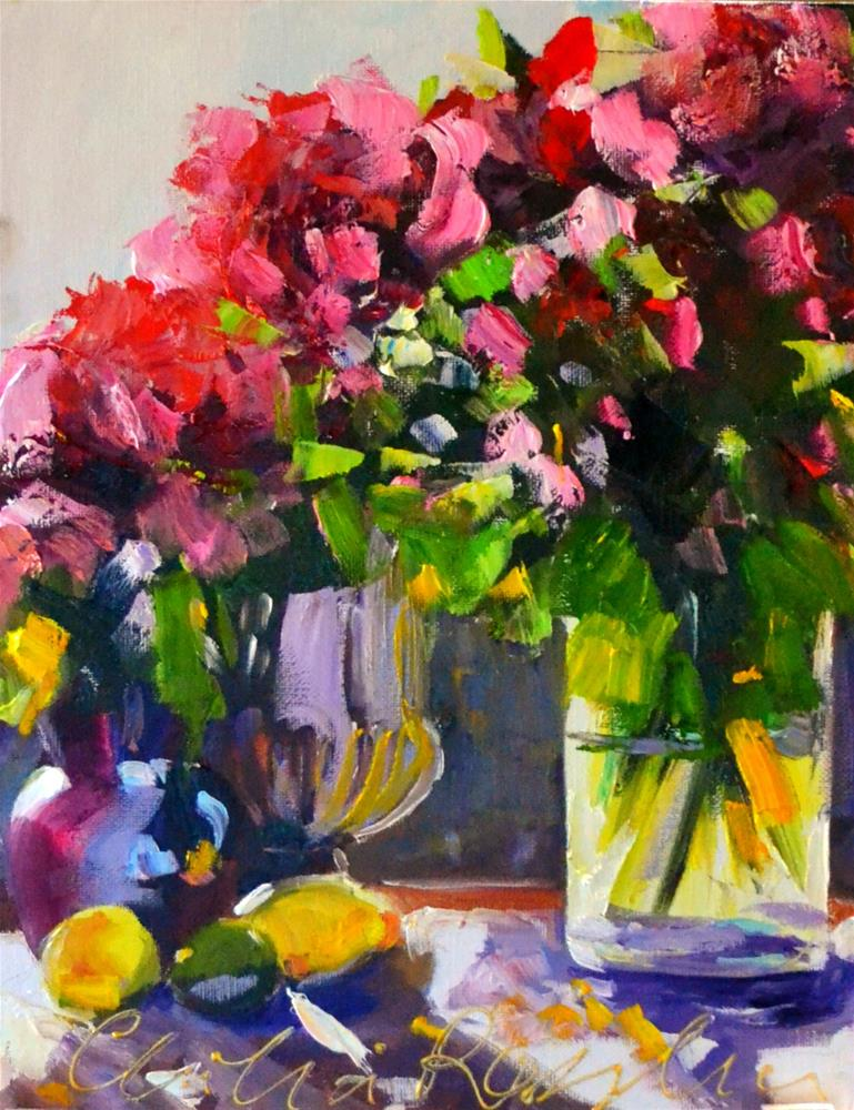 """""""LATE AFTERNOON ROSES"""" original fine art by Cecilia Rosslee"""
