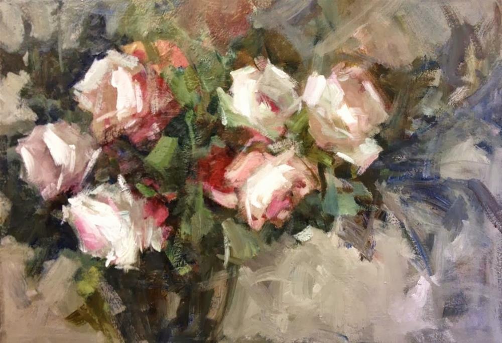 """roses and a grey wall"" original fine art by Parastoo Ganjei"