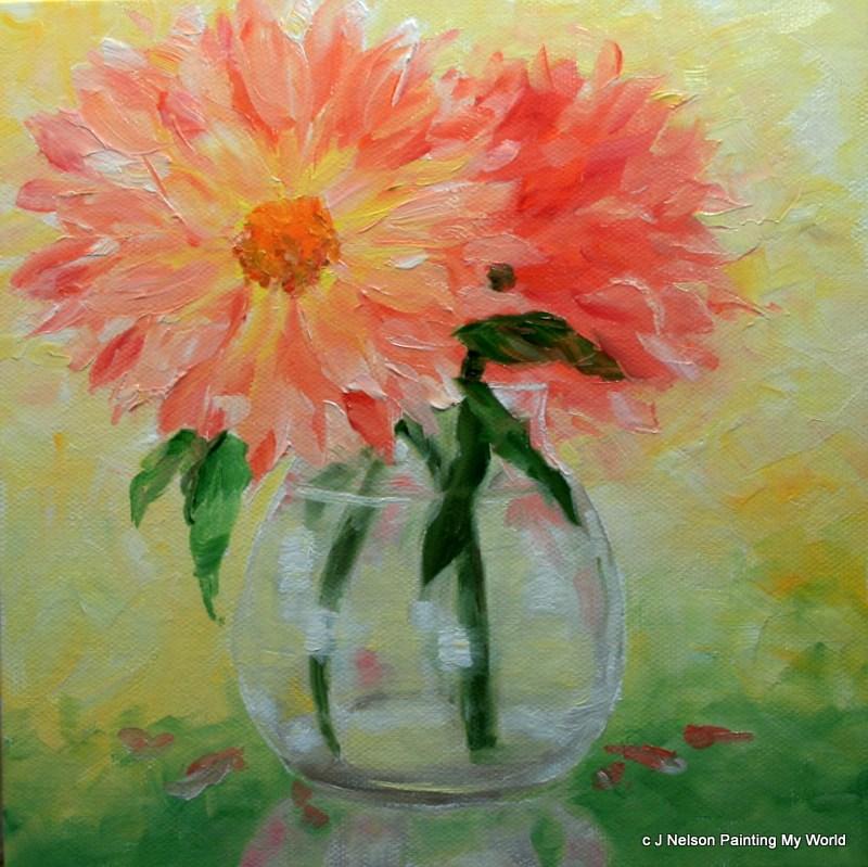 """Dahlias"" original fine art by Jean Nelson"