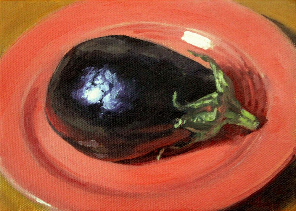 """Eggplant on Salmon"" original fine art by Ski Holm"
