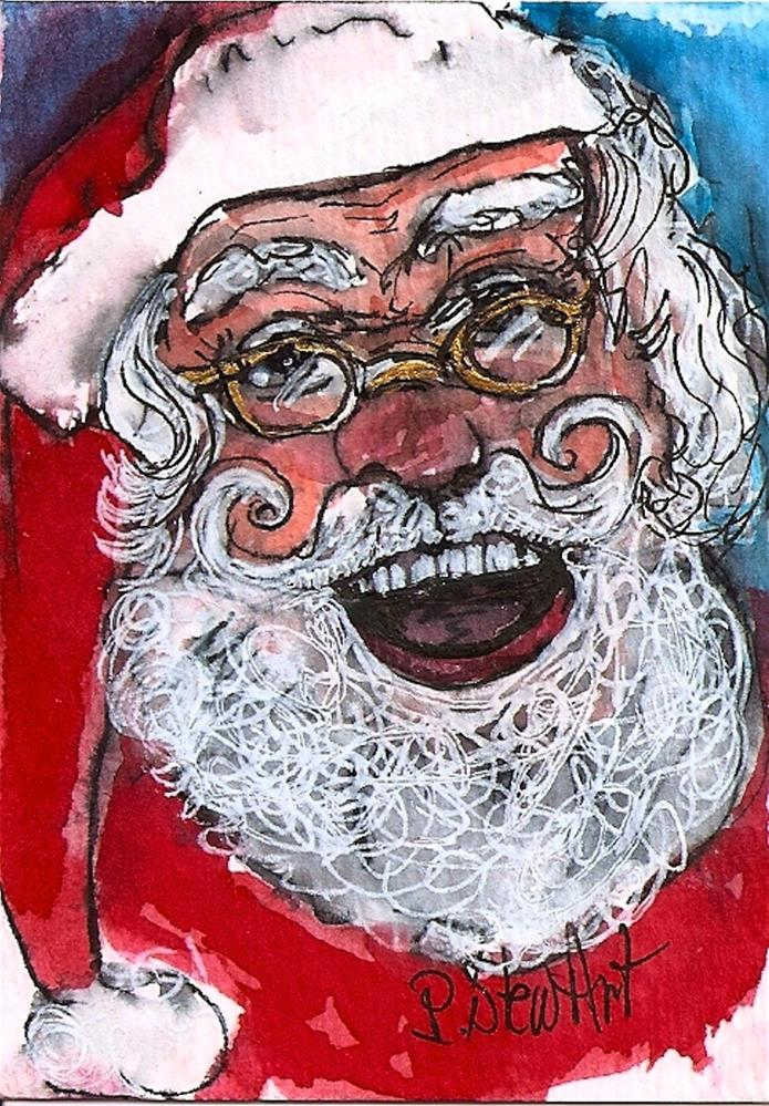 """ACEO Happy Santa #3 Series WC & Pen Original Illustration SFA by Penny StewArt"" original fine art by Penny Lee StewArt"