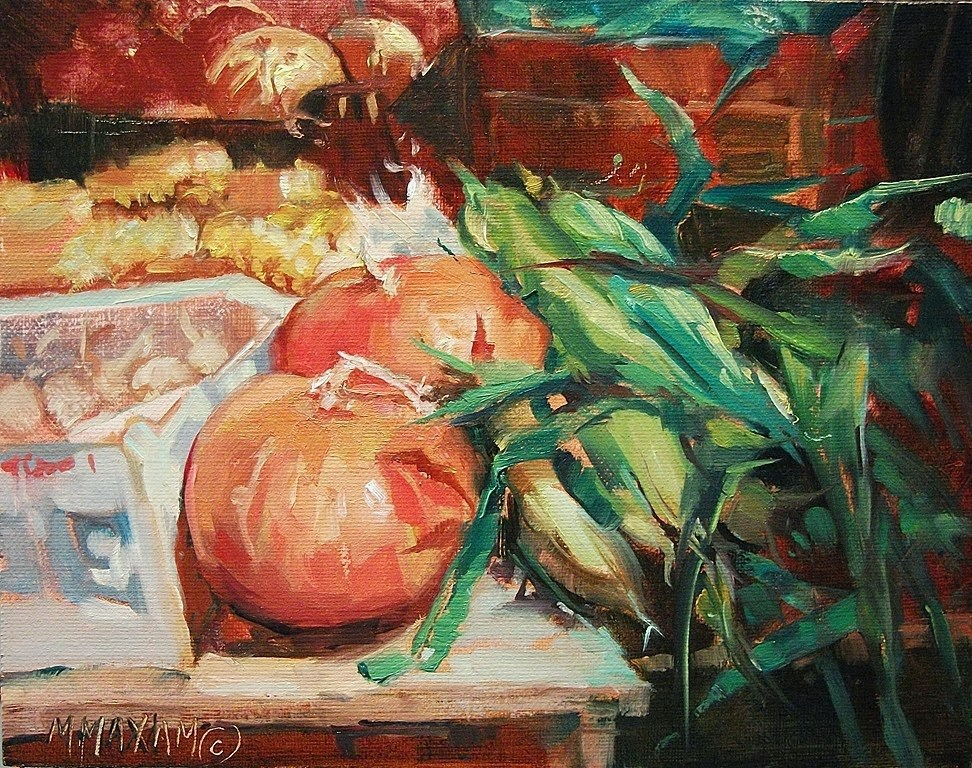 """Fall Harvest - at the farmer's market"" original fine art by Mary Maxam"