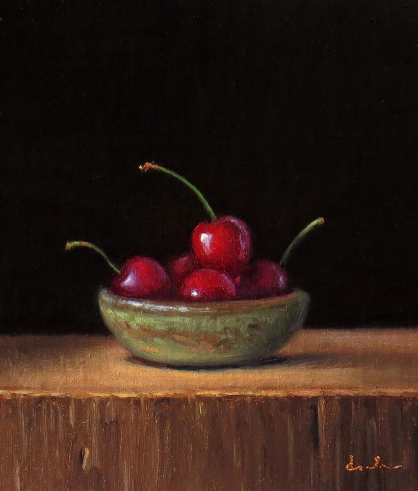 """Still Life with Handmade Bowl and Cherries"" original fine art by Darla McDowell"