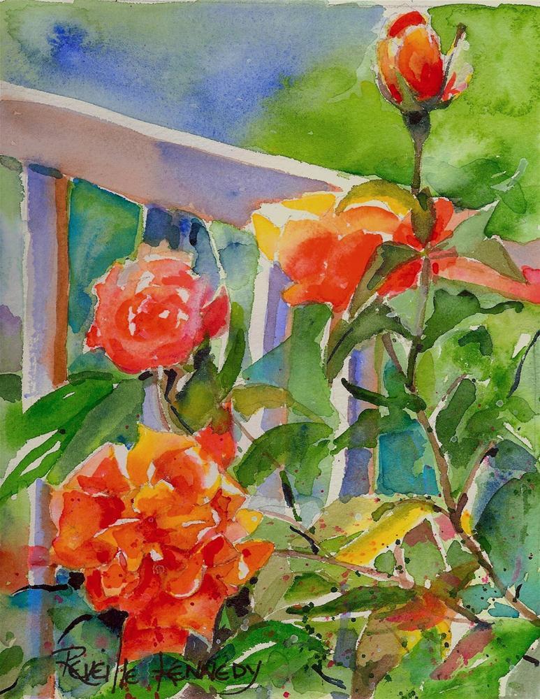 """Tangerine Rose original watercolor SOLD"" original fine art by Reveille Kennedy"