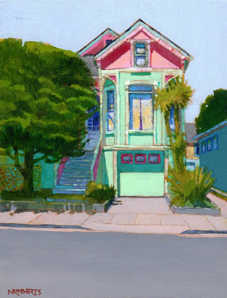 """Pink and Green Italianate"" original fine art by Nancy Roberts"