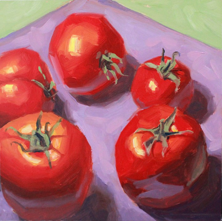 """Grandpa's Tomatoes"" original fine art by Nealy May Riley"