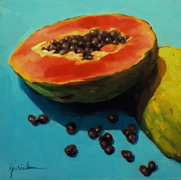 """Papaya Innerds"" original fine art by Karin Jurick"