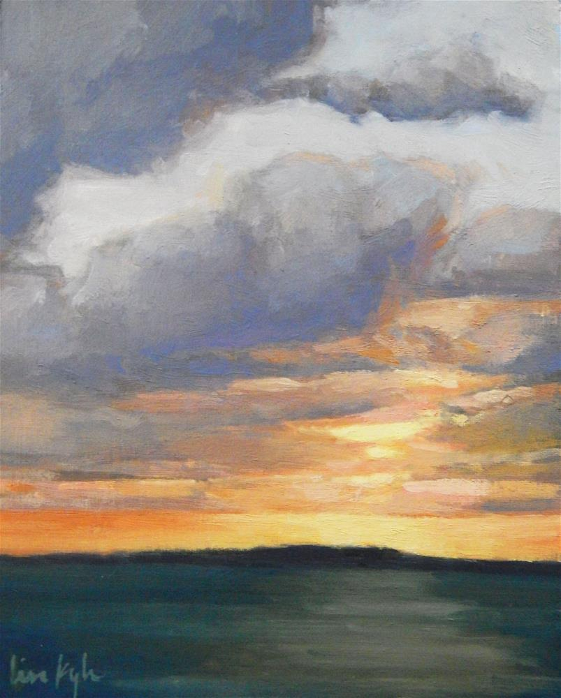 """Clouds at Sunset, Maine"" original fine art by Lisa Kyle"
