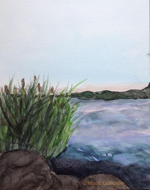 """Hudson River, Piermont, New York at Sundown"" original fine art by Maud Guilfoyle"