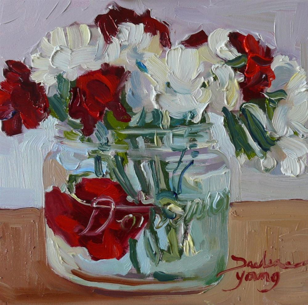 """876 Pure and Deep Love, oil on board, 6x6"" original fine art by Darlene Young"