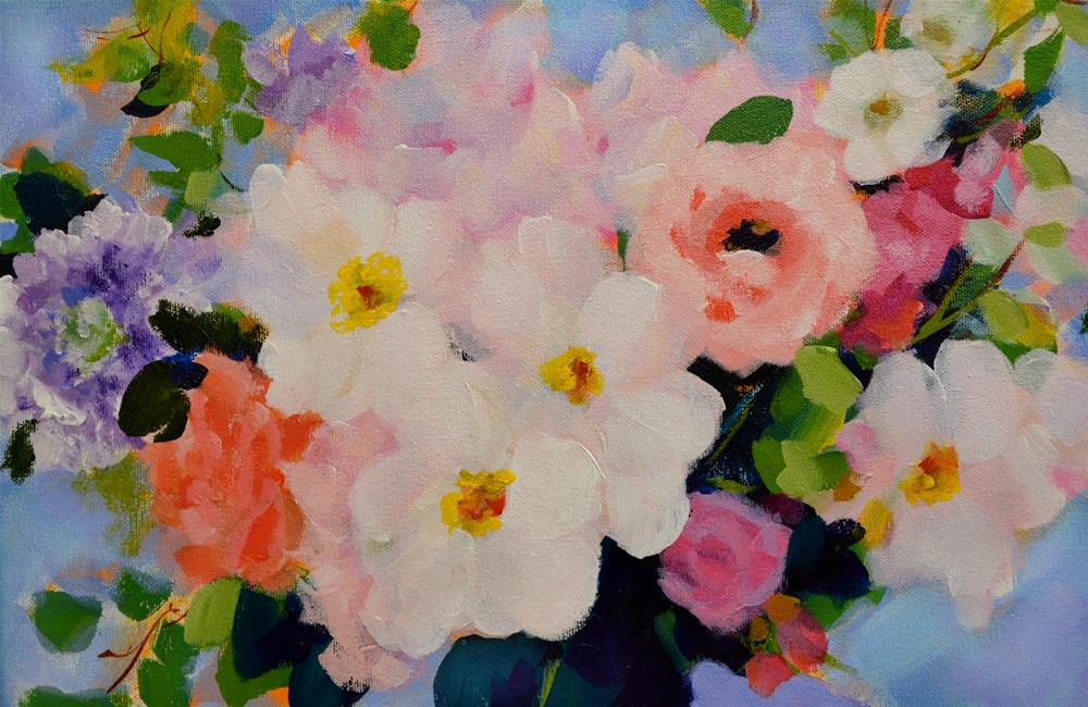 """Detail of Greenbrier Bridal Bouquet (16x16)"" original fine art by Pamela Gatens"