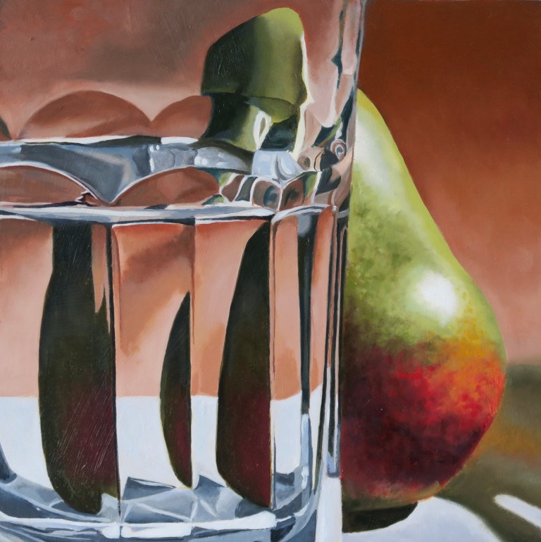"""Sliced Pear"" original fine art by Sally Baca"