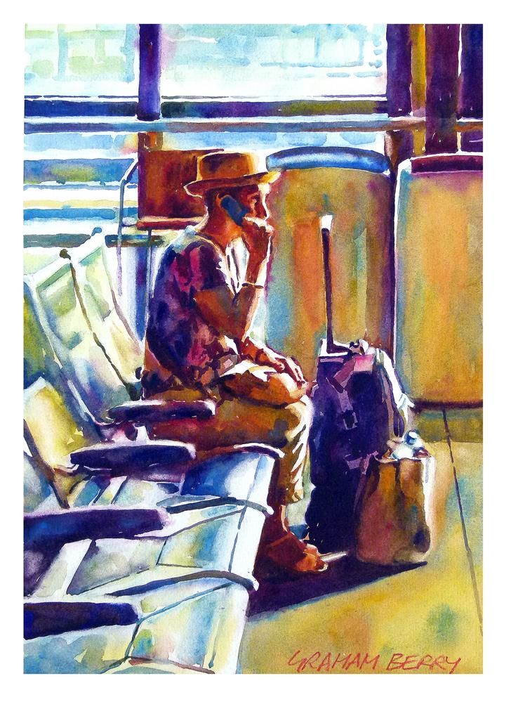 """I'm just waiting for the train"" original fine art by Graham Berry"