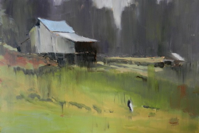 """Sawdust Hill Road Barn plein air, oil landscape painting by Robin Weiss"" original fine art by Robin Weiss"
