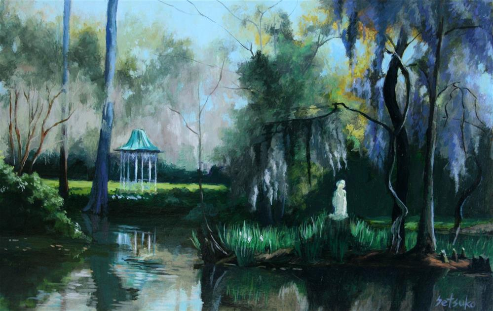 """Garden with Spanish Moss"" original fine art by Setsuko Lawson"