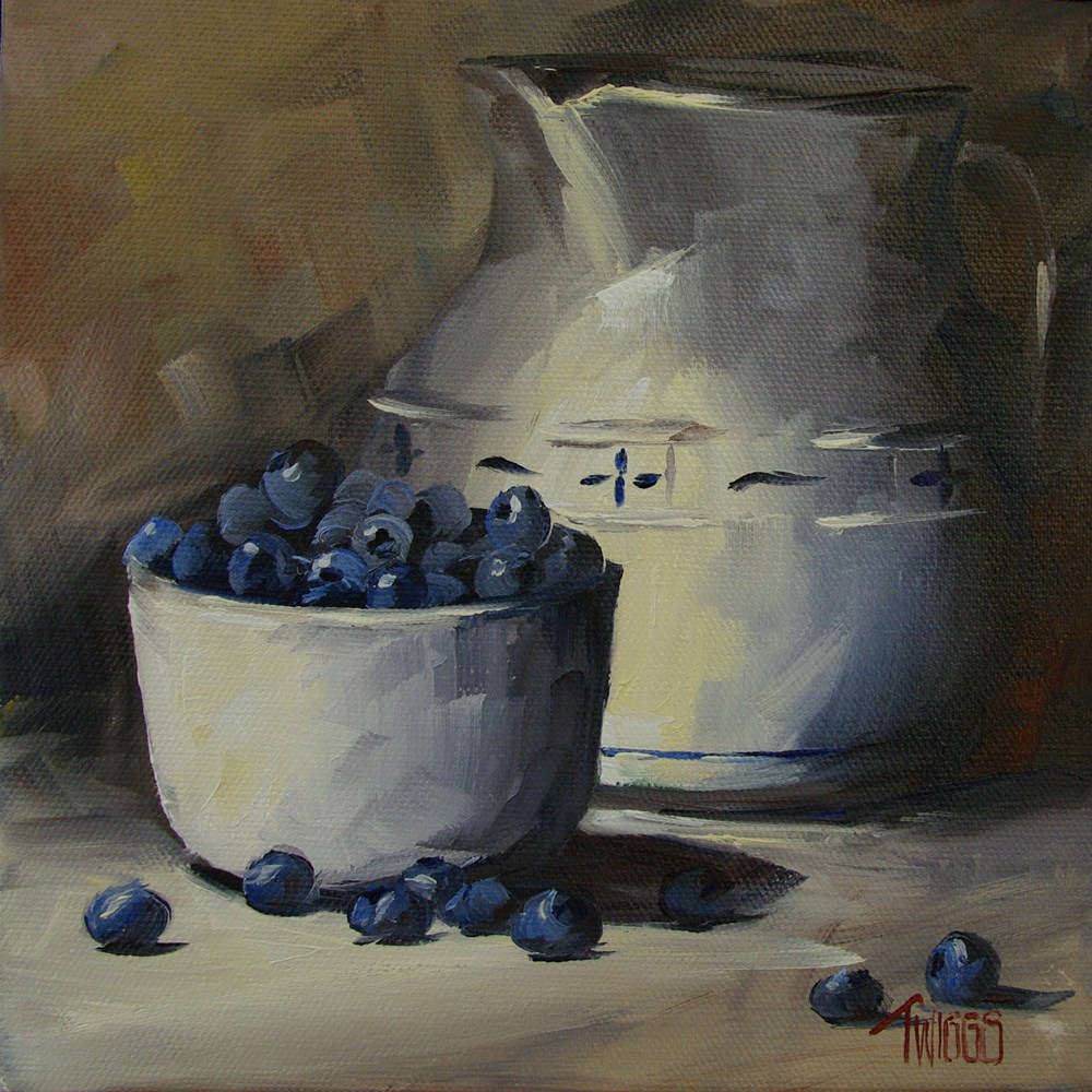 """Pitcher & Blueberries"" original fine art by Lori Twiggs"