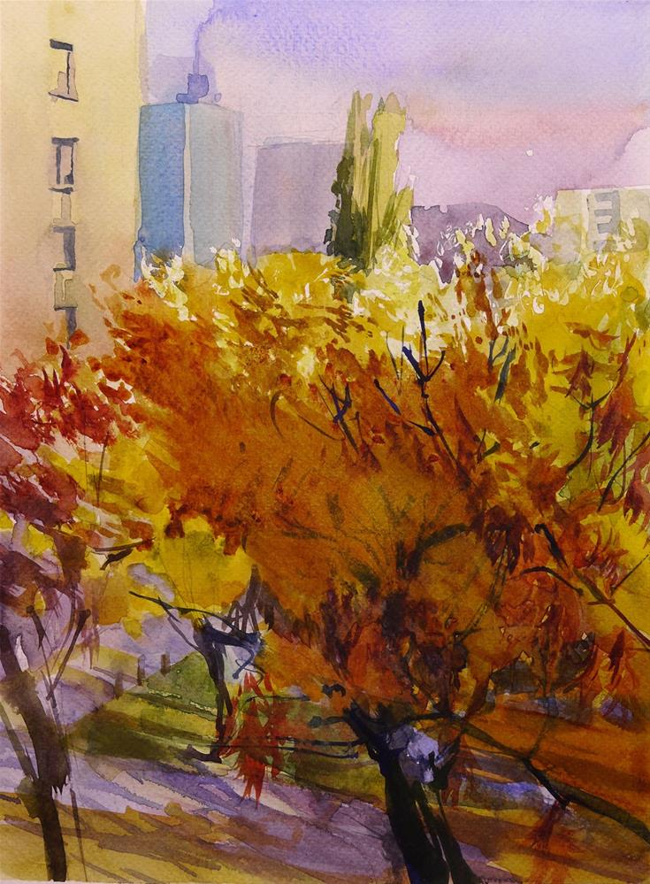 """Autumn in the city"" original fine art by Beata Musial-Tomaszewska"