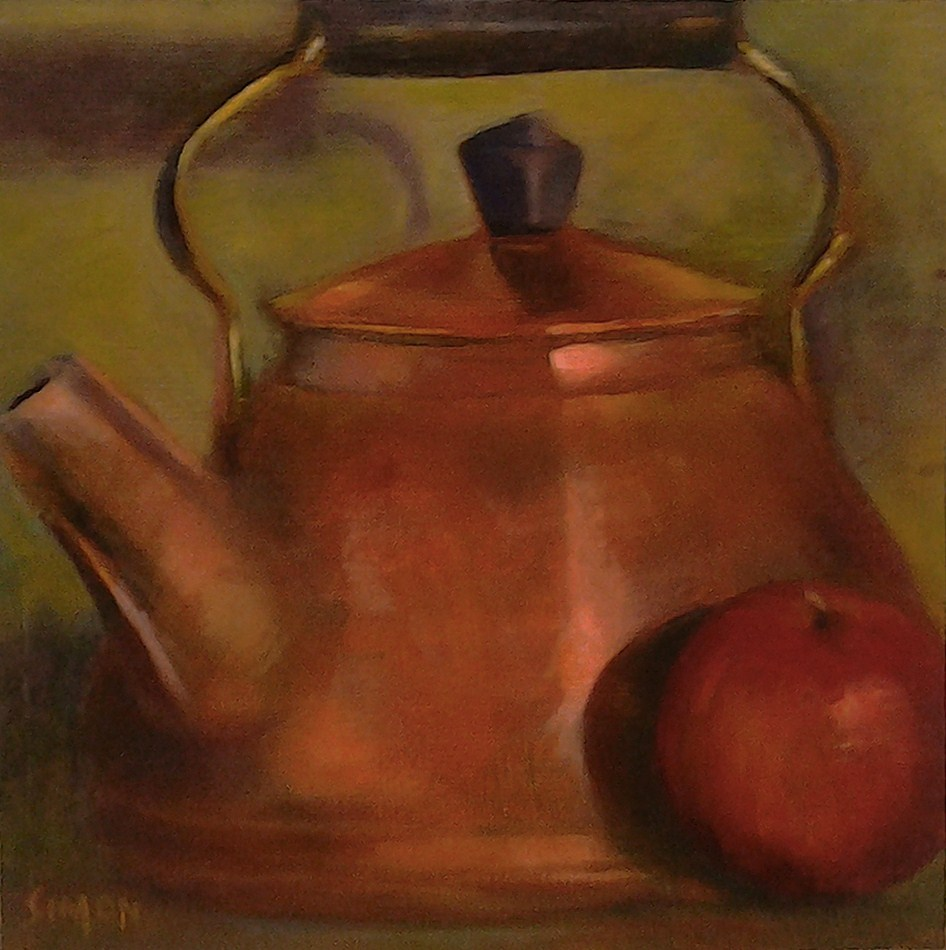 """Sunlit Copper Teapot"" original fine art by A.K. Simon"