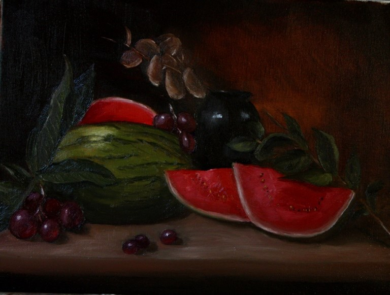 """Walermelon and Grapes"" original fine art by Mary Datum"