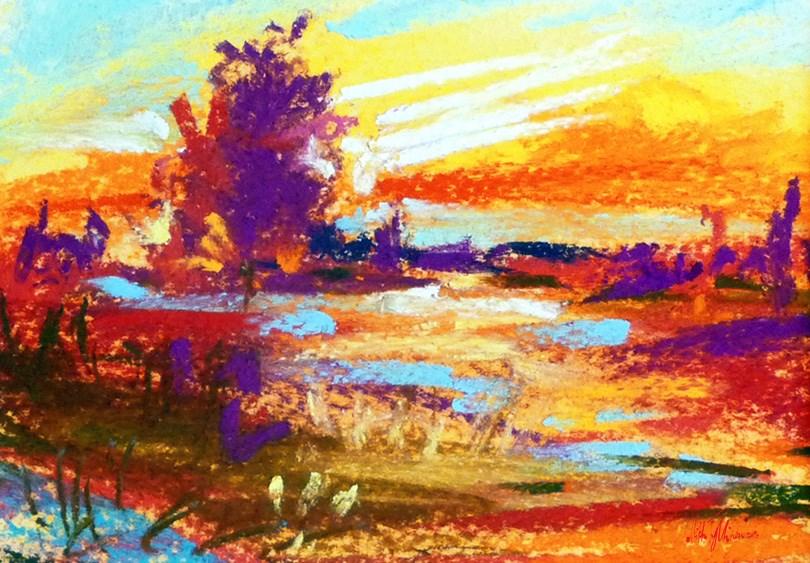 """""""Autumnal landscape"""" original fine art by Mikko Tyllinen"""