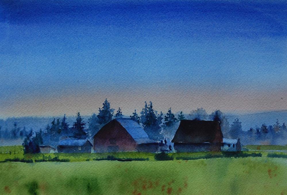 """Sunrise Farm"" original fine art by Mary Anderson"
