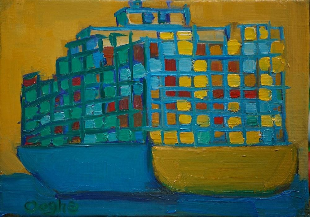 """Container Ship 4"" original fine art by Angela Ooghe"