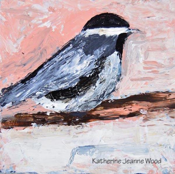 """Pink Chickadee Bird Painting"" original fine art by Katie Jeanne Wood"