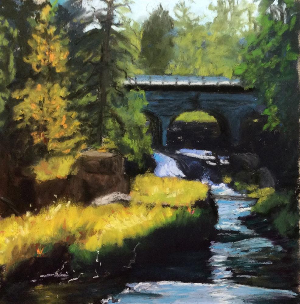"""""""BRIDGE OVER FALLING WATERS"""" original fine art by Marti Walker"""