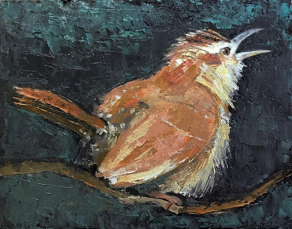 """""""Singing Wren"""" original fine art by Sarah Buell Dowling"""