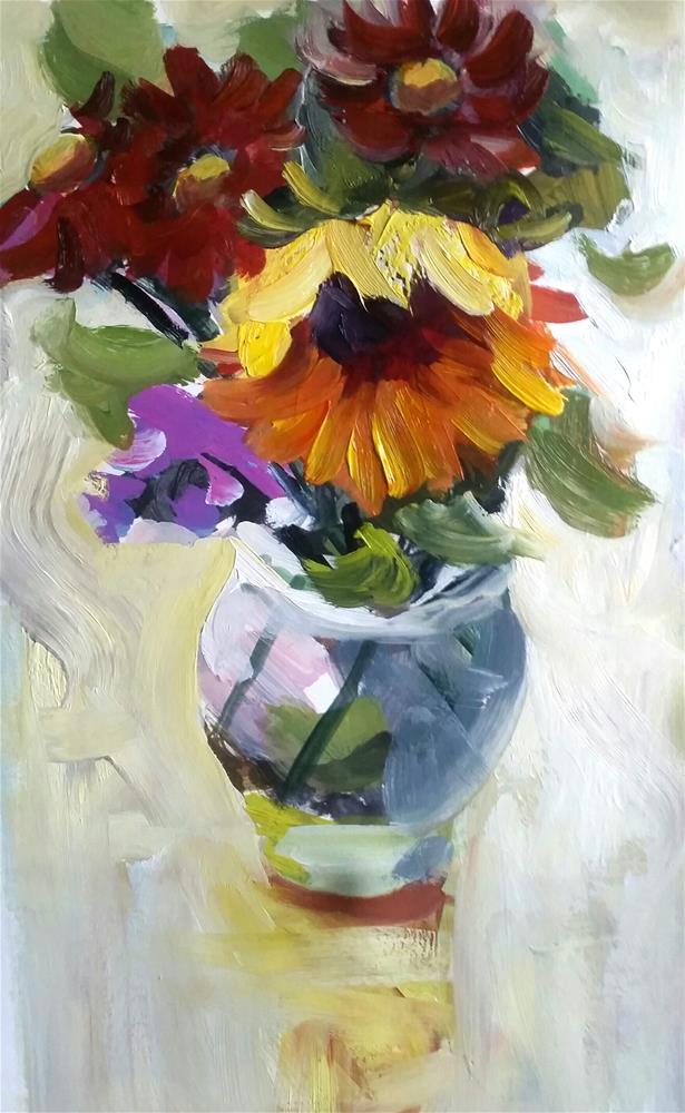 """Sunflower Oil Painting"" original fine art by Liz Maynes"