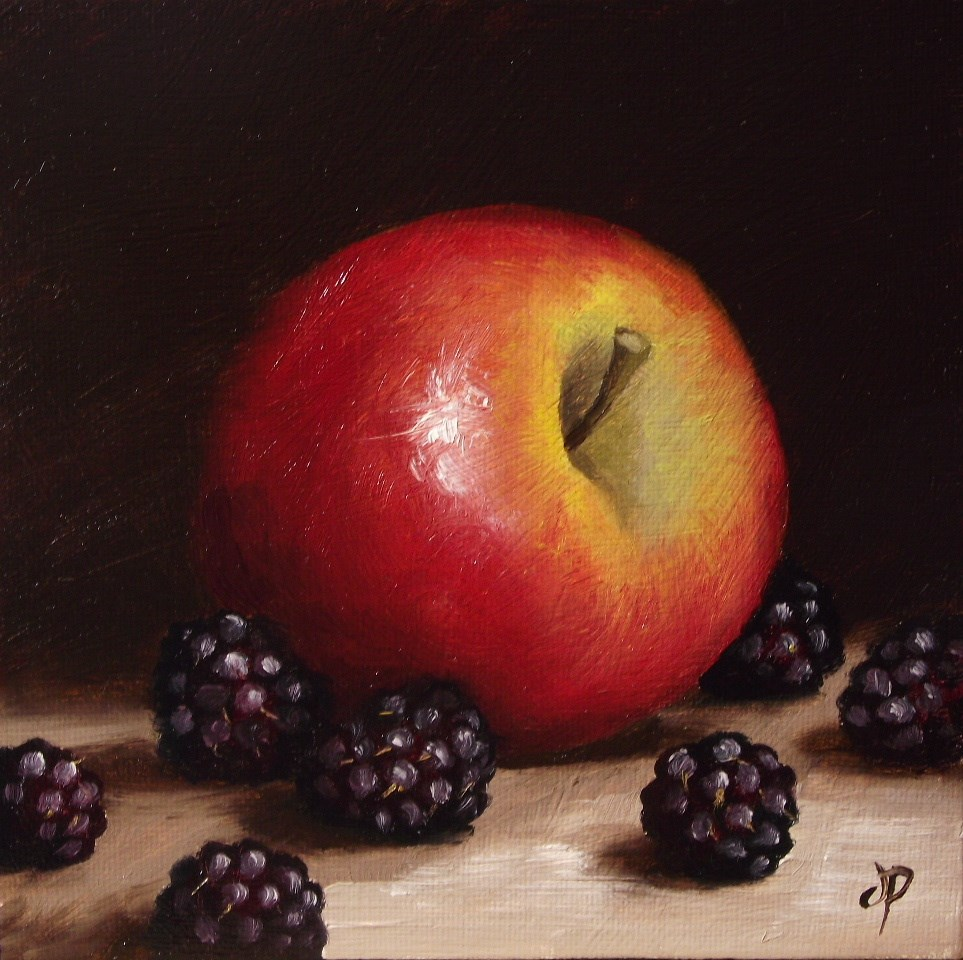 """Apple and Blackberries"" original fine art by Jane Palmer"