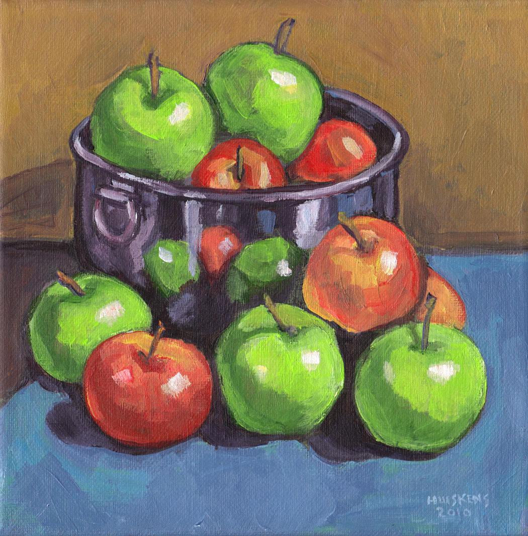 """Green And Red Apples No. 1"" original fine art by Randal Huiskens"