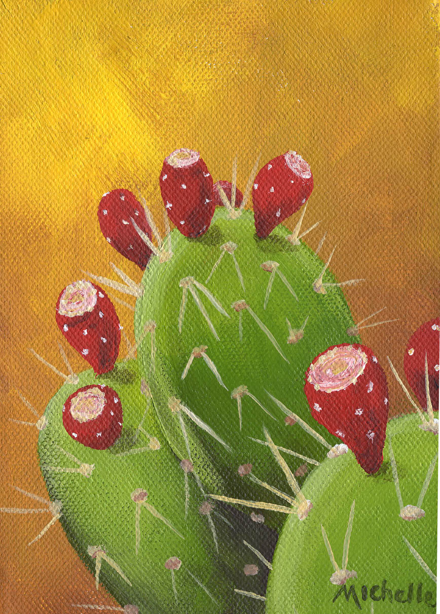 """Prickly Pear Cactus with Fruit 2"" original fine art by Michelle Wolfe"