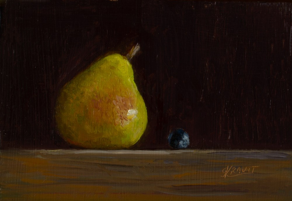 """Pear and Blueberry"" original fine art by Garry Kravit"