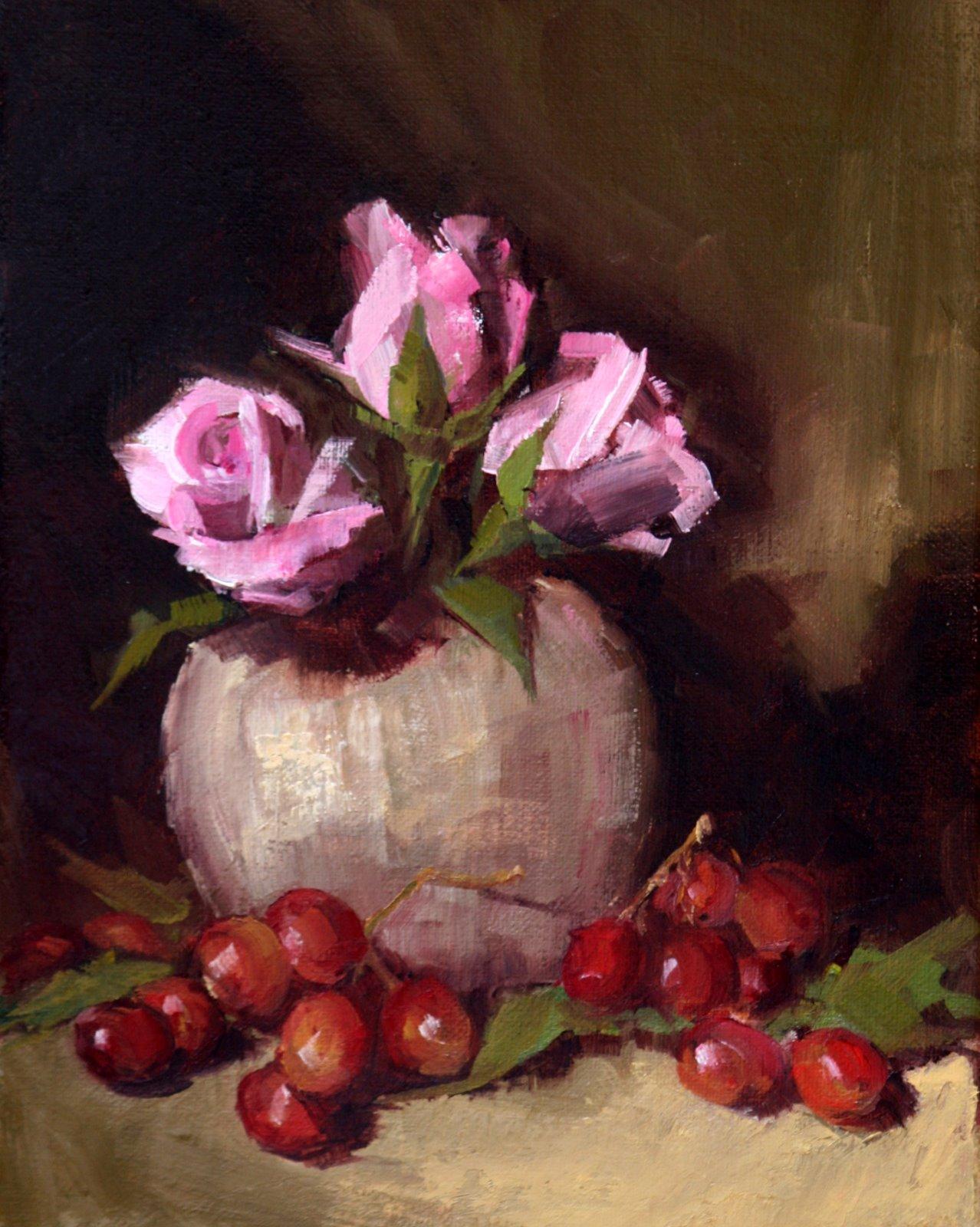 """pink roses"" original fine art by Carol Carmichael"