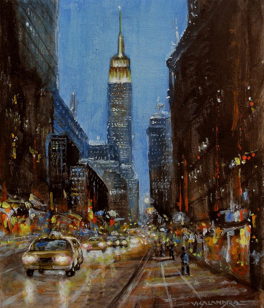 """New York In night3"" original fine art by vishalandra dakur"